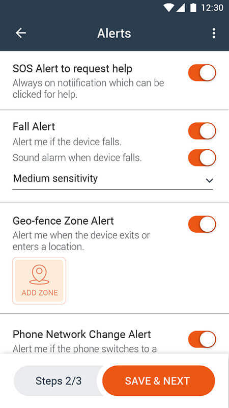 Setup emergency contacts, reporting & alerts